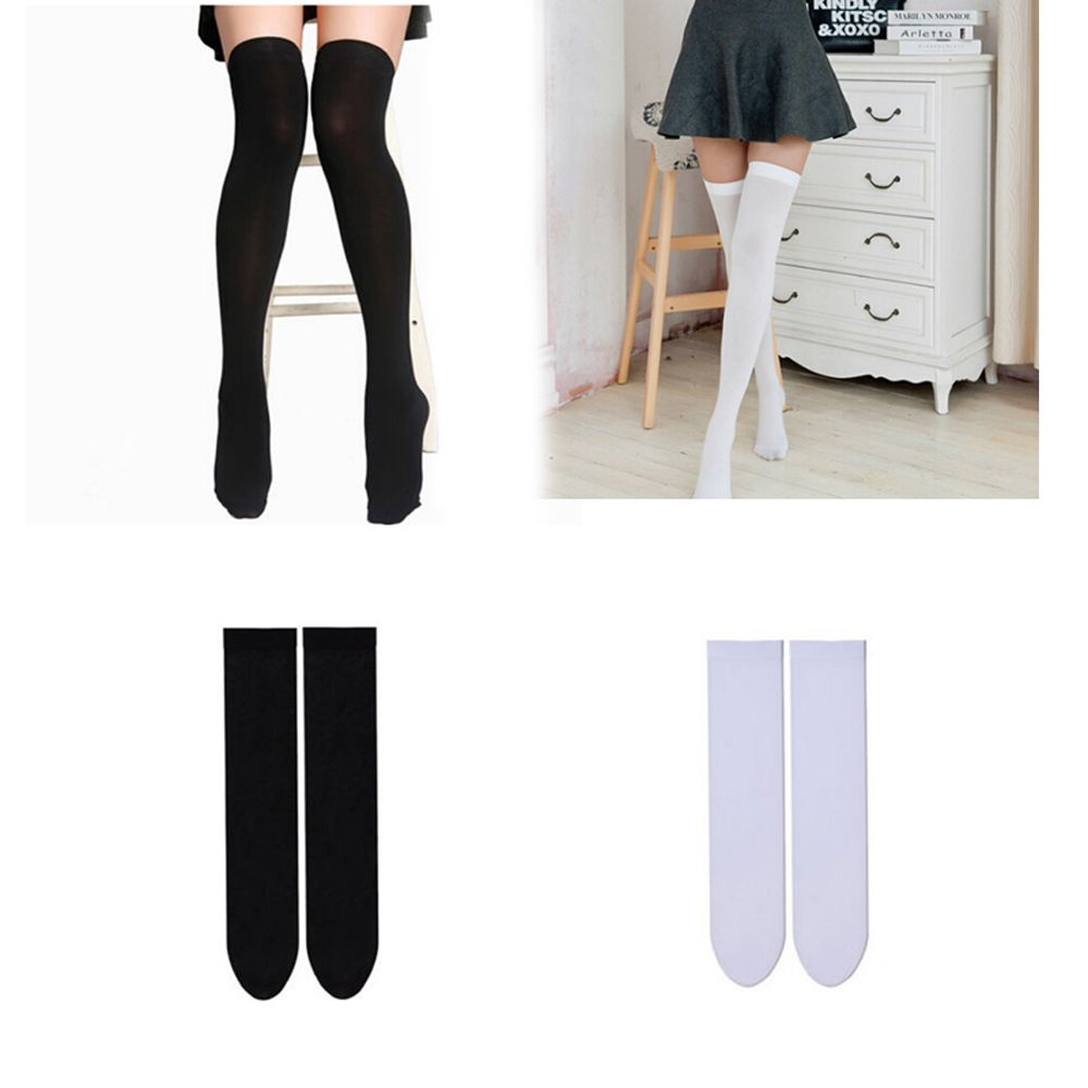 1Pair New Hot Mini Women Girls Fashion Spring Summer Opaque Over Knee Thigh High Elastic Sexy Stockings Black/White Colors - Sheseelady