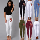 High Waist Emboridered Skinny Long Slim Leggings Jeans - Sheseelady