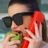 Kim Kardashian Sunglasses Lady Flat Top Eyewear Lunette Femme Women Luxury Brand Sunglasses Women Rivet Sun Glasse Uv400 - Sheseelady