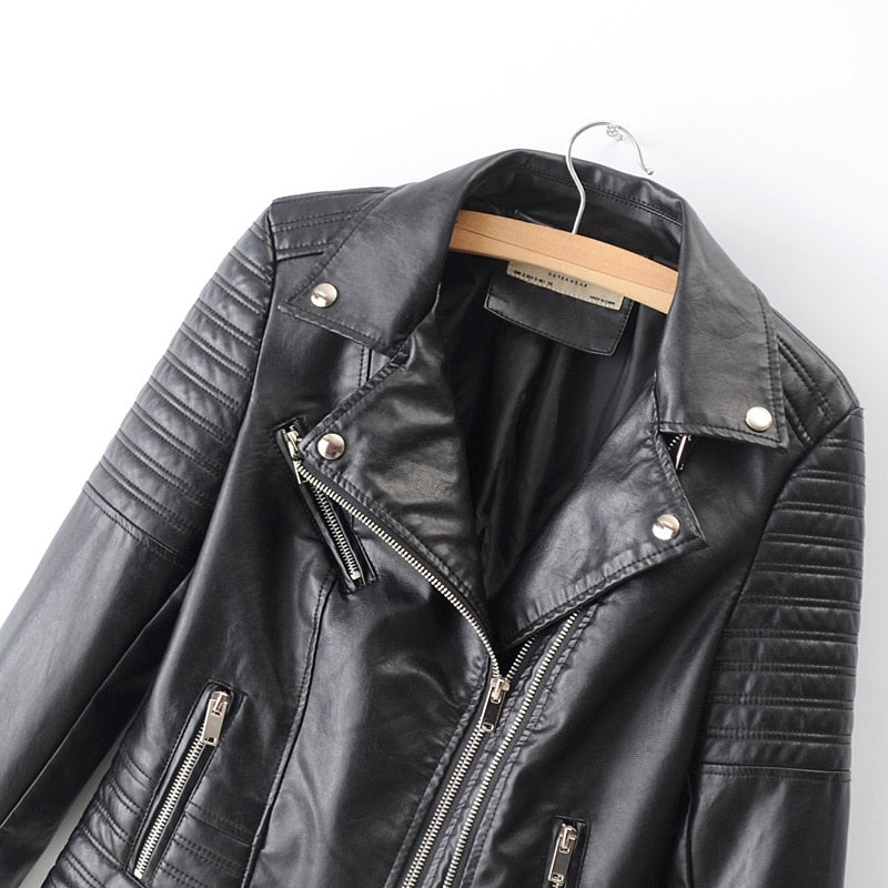 New Fashion Women Smooth Motorcycle Faux Leather Jackets Ladies Long Sleeve Autumn Winter Biker Streetwear Black Pink Coat