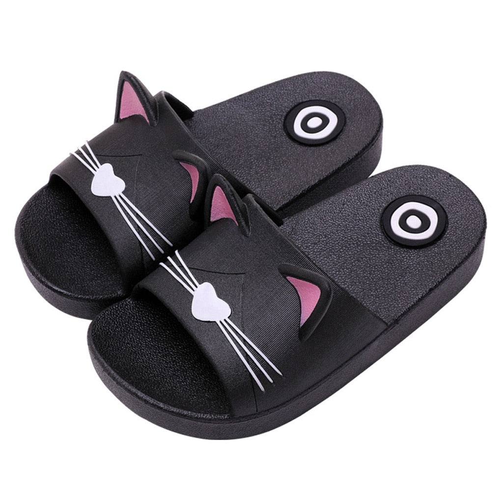 Cartoon Cat Kids Soft Slippers For Home Floor - Sheseelady