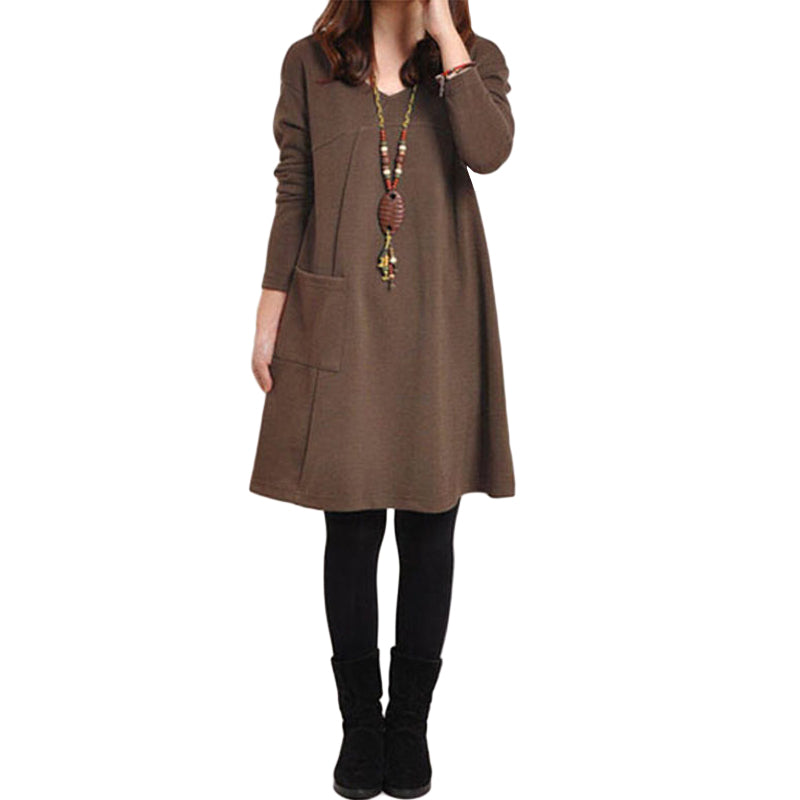 Plus Size Long Sleeve Pocket Solid O Neck Loose Party Casual Dress