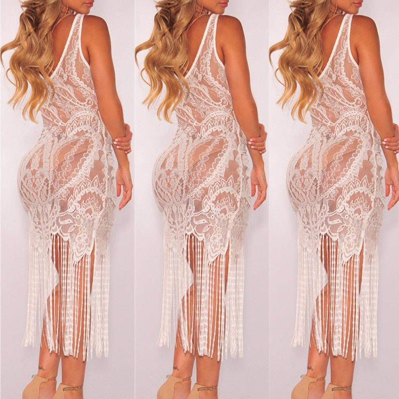 Bandage Bodycon Hollow Out Lace Crochet Cover Up - Sheseelady