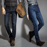 Men Activities Warm Jeans High Quality Autumn Winter Flocking Soft Men Jeans