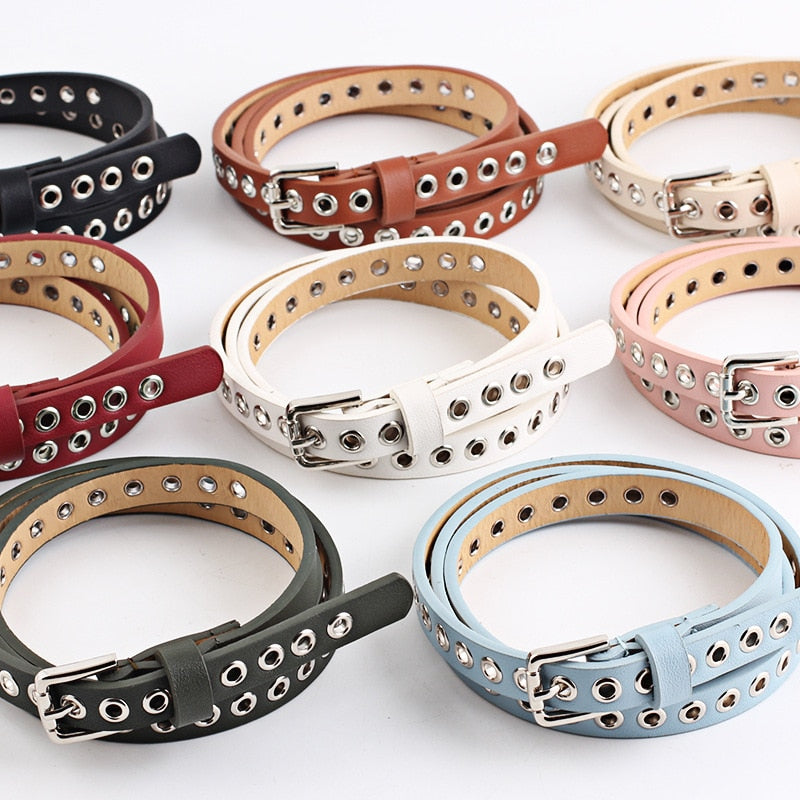 New Strap Women Waist Belt Hollow Rivets Pu Leather Strap For Womens Slim Waistband Female Ladies Apparel Accessories