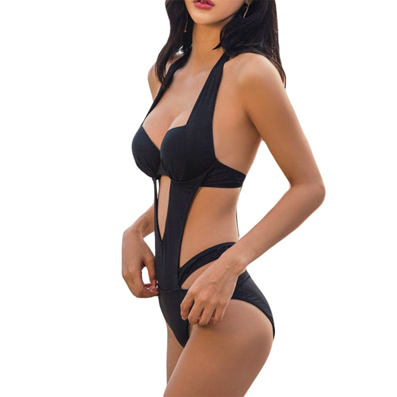 Sexy Black Halter Cut Out Bandage Trikini Swim Bikini