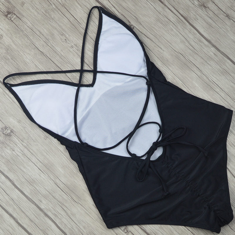 Sexy One Piece Swimsuit Solid Black Thong Backless Bikini