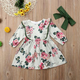 Newborn Infant Baby Girl Floral Long Sleeve Party Dress