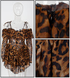 Love&Lemonade  Sexy Strapless Fit Ruffle Trim Long Sleeve Leopard Chiffon PlaysuitLM81610