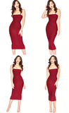 Double Layers Cotton Bodycon Midi Tight Party Dress - Sheseelady