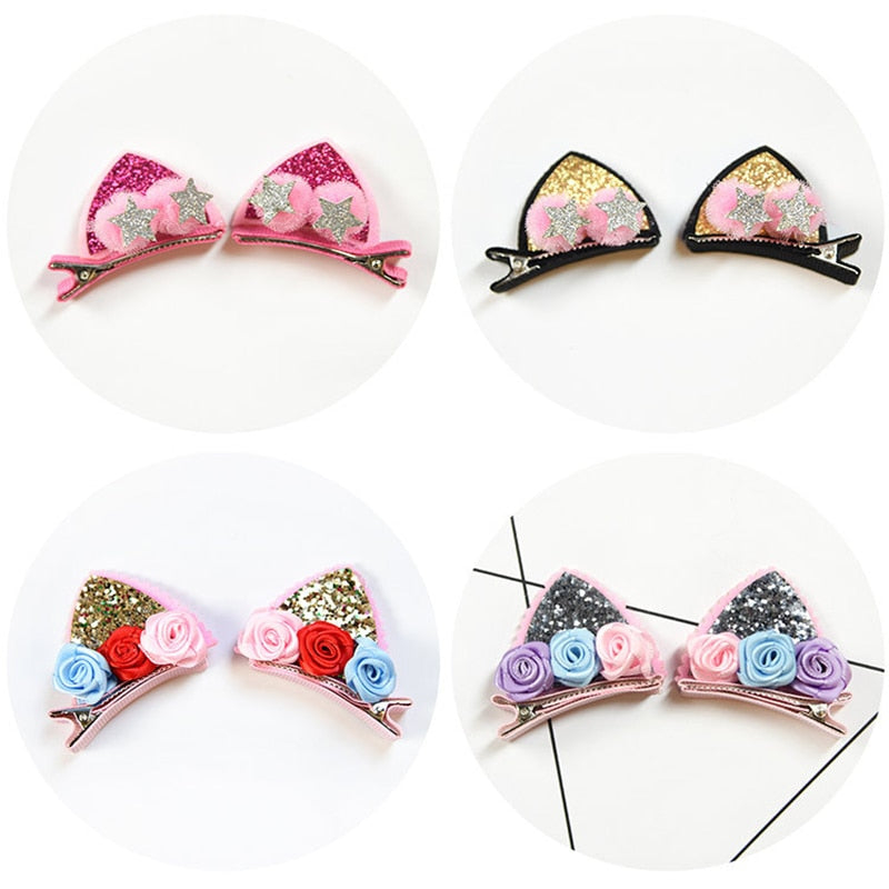 2Pcs/Set Cute Hair Clips For Girls Glitter Rainbow Felt Fabric Flowers Hairpins Cat Ears Bunny Barrettes Kids Hair Accessories - Sheseelady