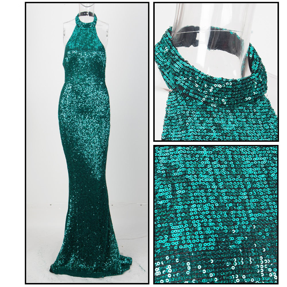 Green Strapless Slim Elastic Sequin Material Fishtail Shape Long Dress