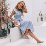 Ruffle Linen Blue Elegant Vintage Striped Long Dresses