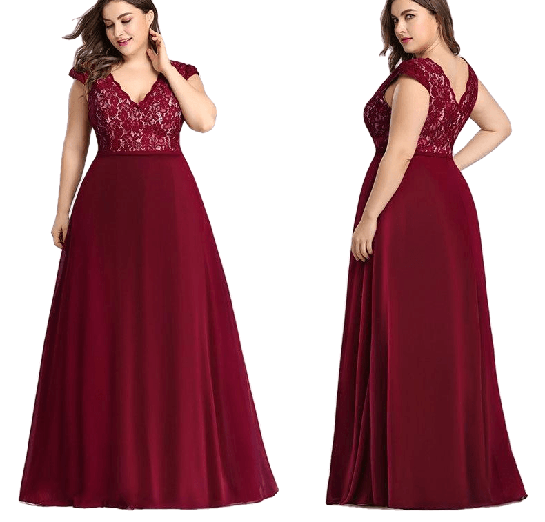 Elegant Burgundy A-Line Sleeveless Lace Dress - Sheseelady