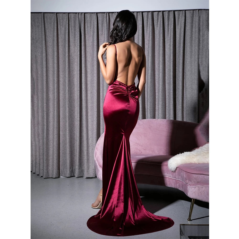 Love&Lemonade  Sexy Deep V-Neck Burgundy Cut Out Sling Open Back Bodycon Long Dress  LM81222-1