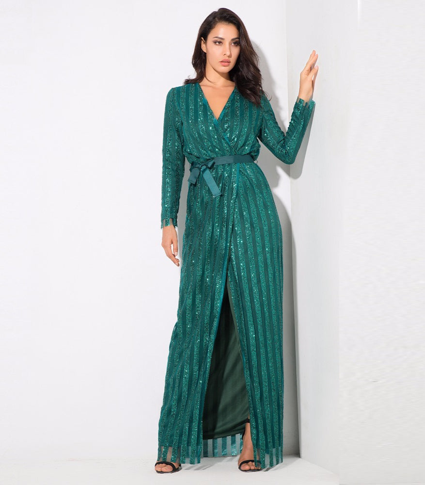 Love&Lemonade .  Stripes Cross V Collar Body Long Dresses Green/Silver/Gold/Black/Red LM0266 Autumn/Winter