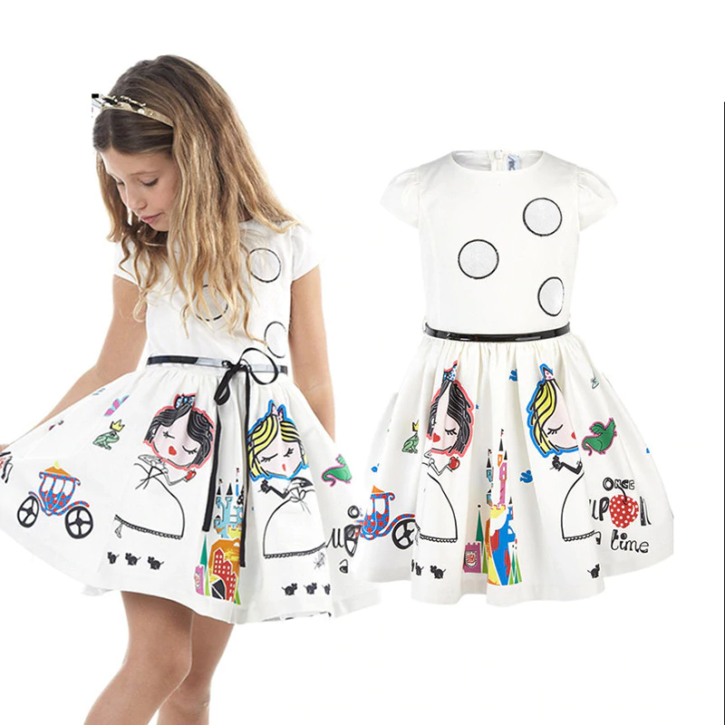 Princess Character File With Robe Sashes Kids Dress