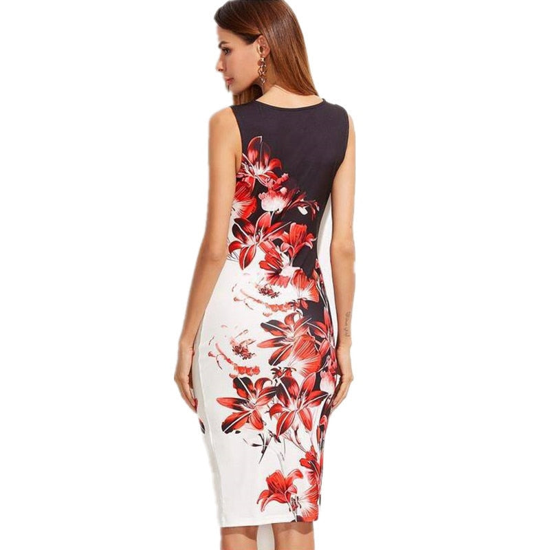 Fashion Sleeveless Print Slim Bodycon Midi Office Dress - Sheseelady