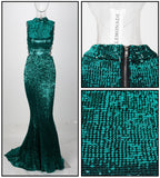 Love&Lemonade   Green Collar Side Cut Out Fishtail Slim Elastic Sequins Long Dress LM1151