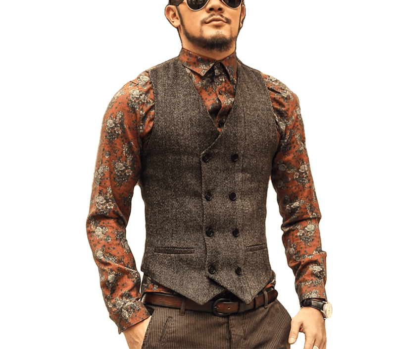 Men'S Double Breasted Vest Formal Grey Slim Business Jacket
