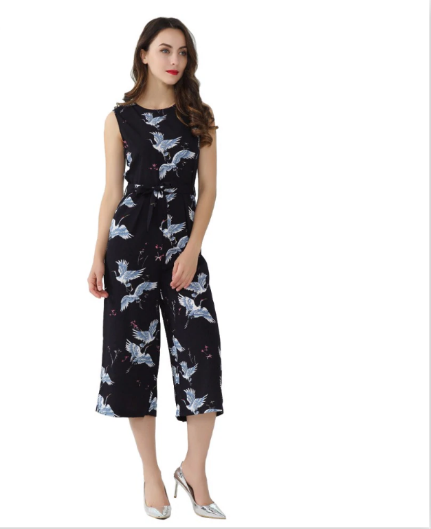 Women Cute Crane Print Jumpsuit Sashes S Sleeveless Rompers Ladies