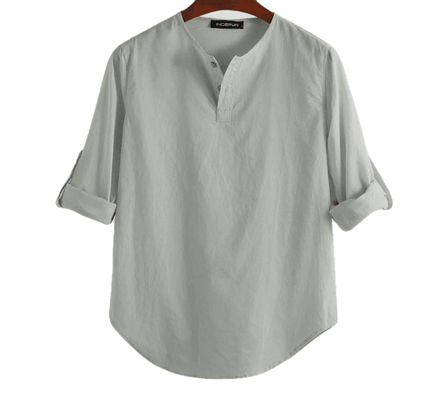 Cotton Solid Basic Men Tops Leisure Casual Shirt - Sheseelady