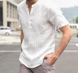 High Quality Cotton Linen Breathable Soft Striped Dress Shirt