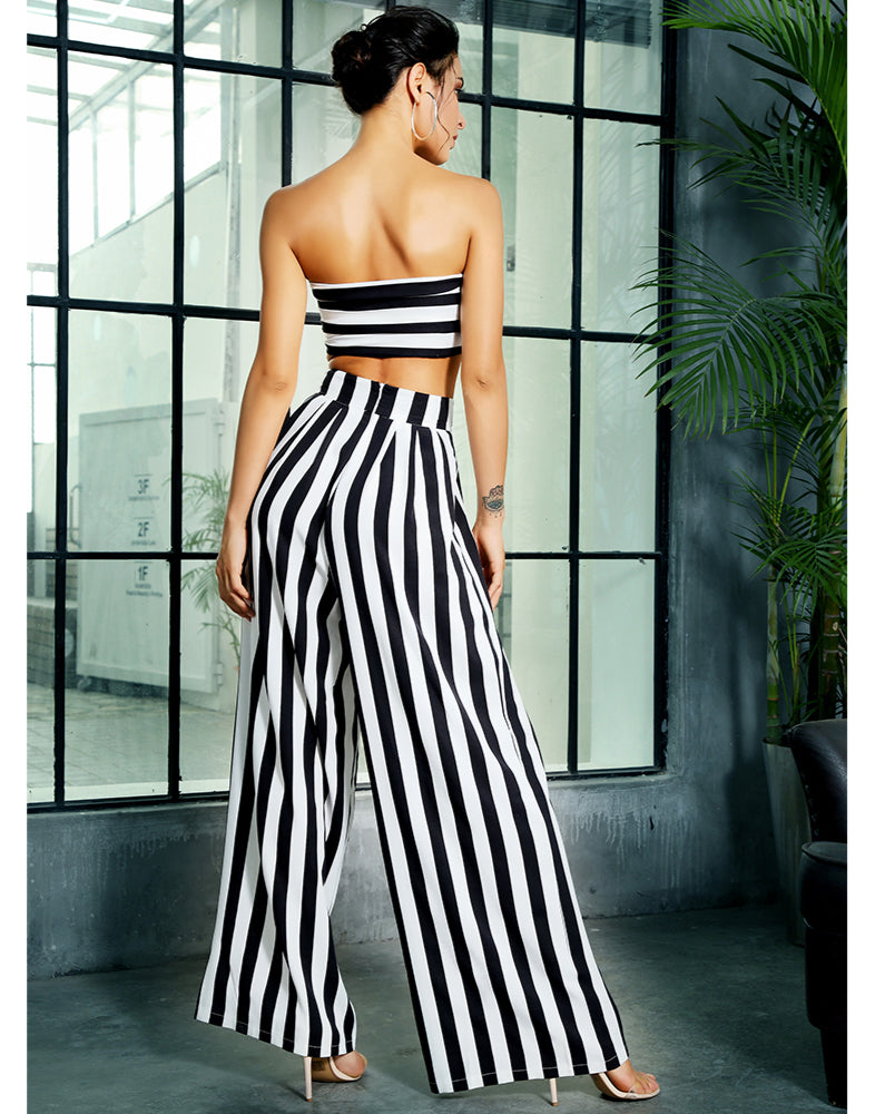 Love&Lemonade Black And White Stripes High Waist Bell Two-Pieces Set LM1395