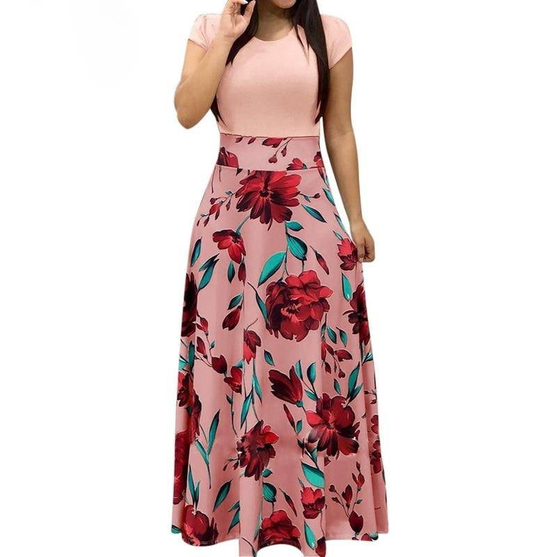 Floral Print Patchwork Casual Short Sleeve Maxi Dress - Sheseelady