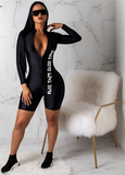 Black Body-Con Sexy Long Sleeve Jumpsuit Short For Women - Sheseelady