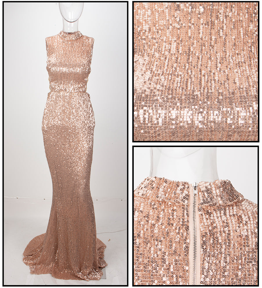 Love&Lemonade   Champagne Collar Side Cut Out Fishtail Slim Elastic Sequins Long Dress LM1152