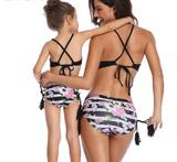 Floral Printed Clothes For Mother Daughter And Swimwear Bikini