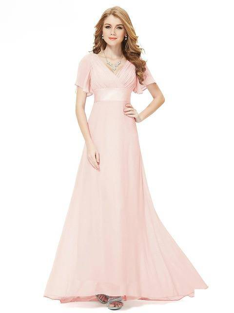 Long Ever Pretty V-Neck Chiffon A-Line Robe Party Gowns