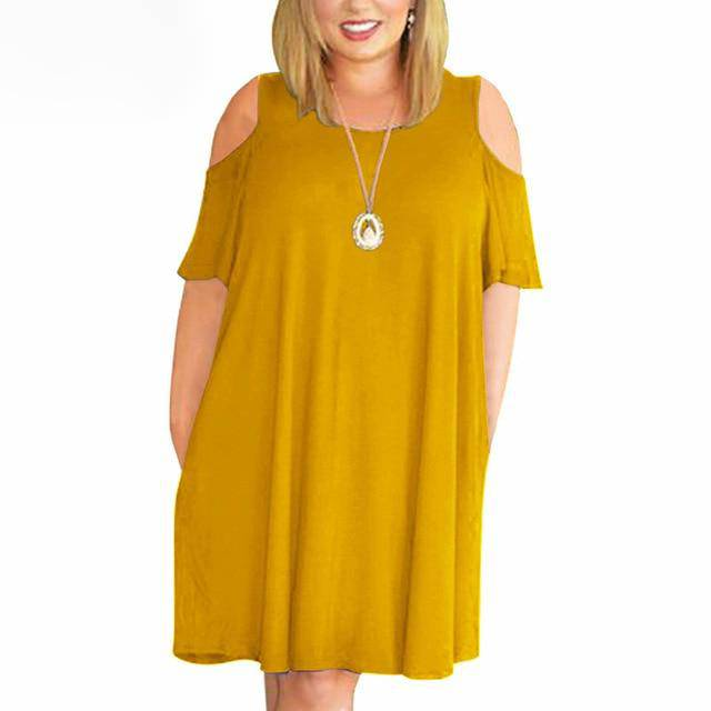 Casual Short Sleeve Off The Shoulder Midi Dress - Sheseelady