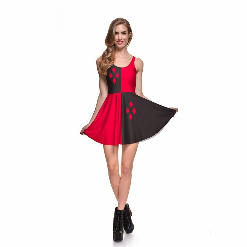 Digital Printing Harley Quinn Reversible Skater Dress - Sheseelady
