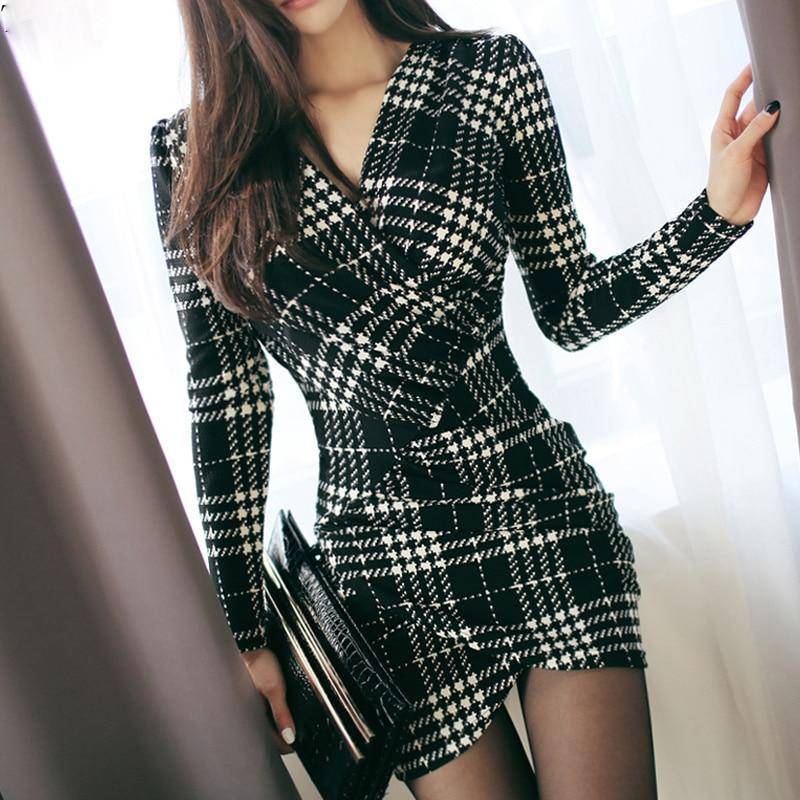 Elegant Vintage Plaid Long Sleeve Bodycon Office Dress - Sheseelady