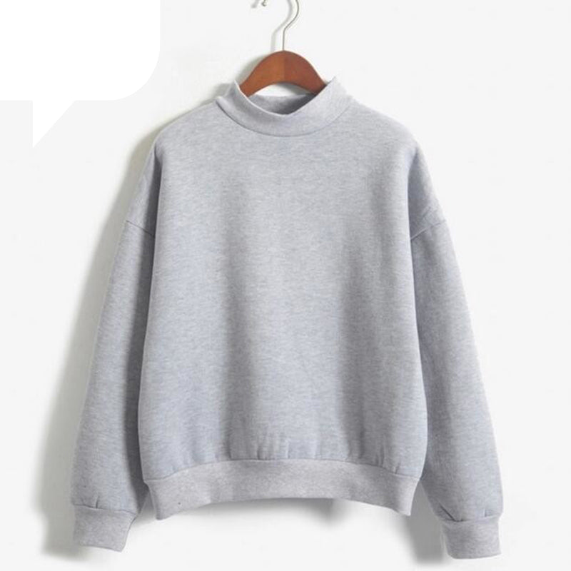 Casual Coat Grey Hoodie Round Neck Long Sleeve Velvet Warm Sweatshirts Korean Black Loose Hoodies For Women