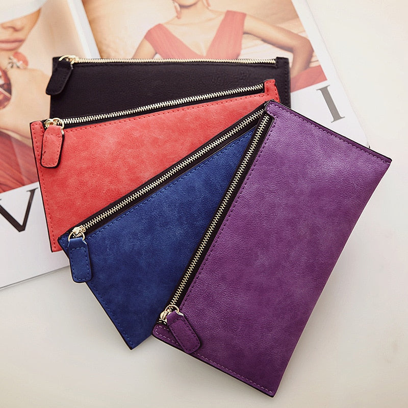 Women'S Purse Ladies Wallet Long Money Bags Simple Style Coin Purse Leather Thin Wallets Female Card Holder Solid