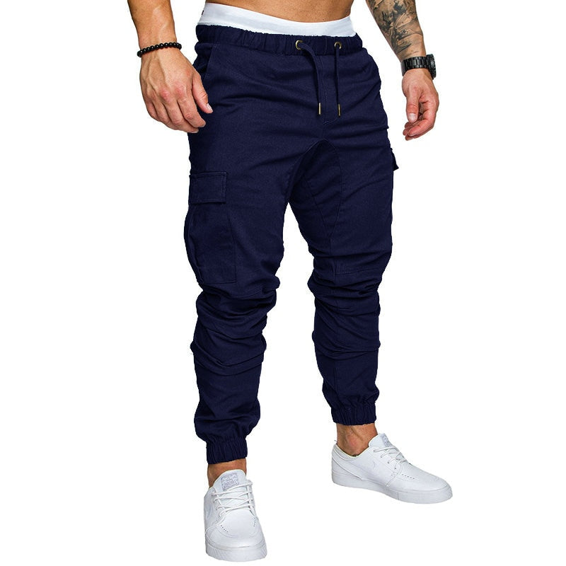 Solid Multi-Pocket Hip Hop Harem Male Trousers