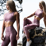 Women'S Sports Suit Fitness Workout Set High Waist Jeggings Tracksuits Summer Clothing Sportswear Woman 2 Pieces Pants