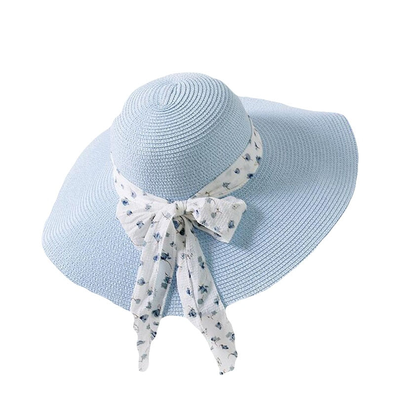 New Summer Female Sun Hat Bow Ribbon Panama Beach Hats For Women Chapeu Feminino Sombrero Floppy Straw Hat