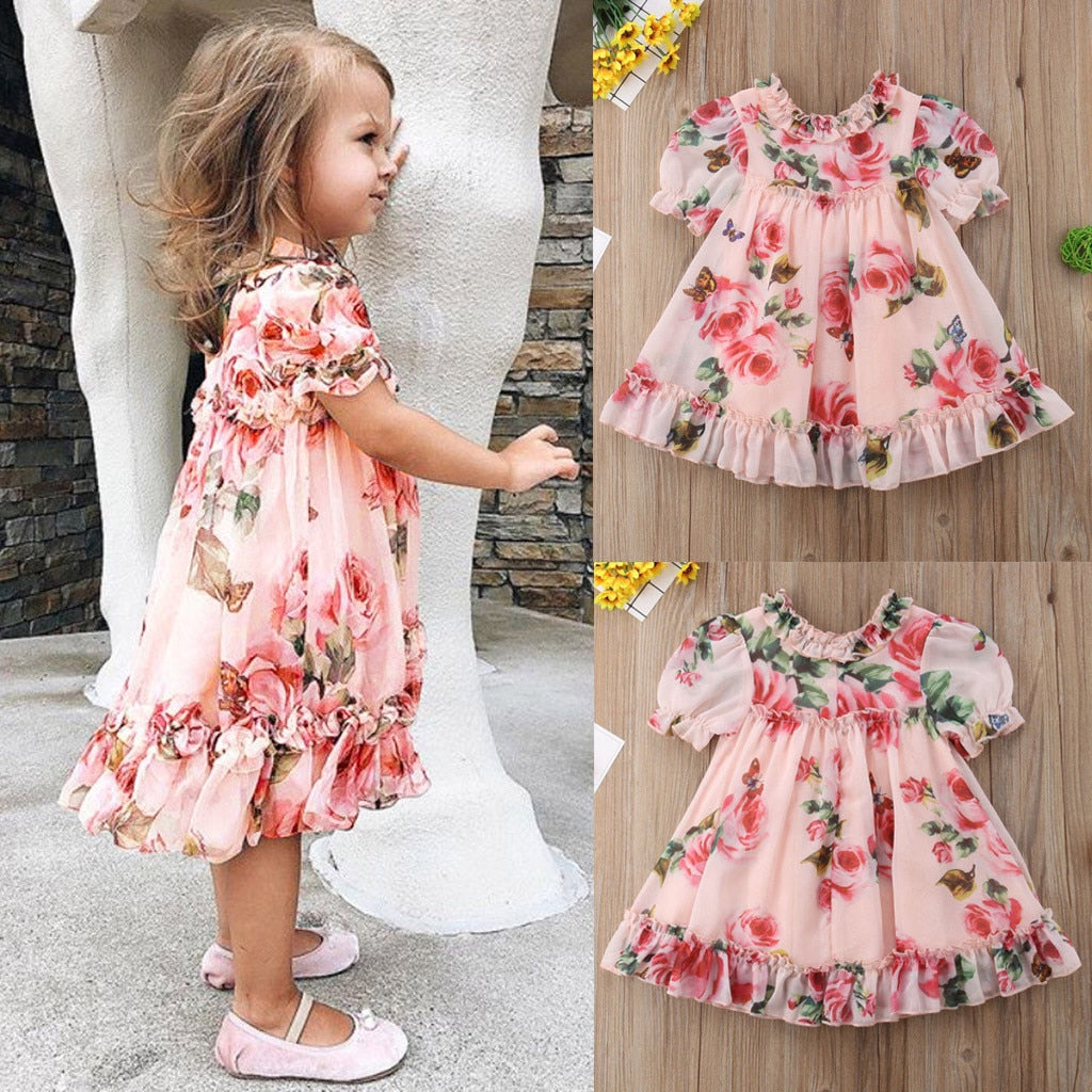 Party Chiffon Floral Print Tutu Dresses For Girls
