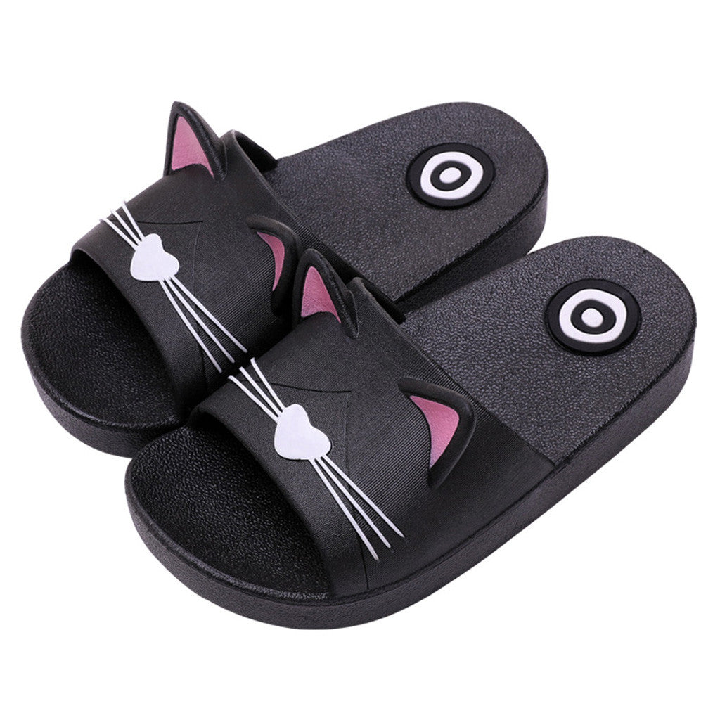 Home Slippers Cartoon Cat Floor Family Shoes