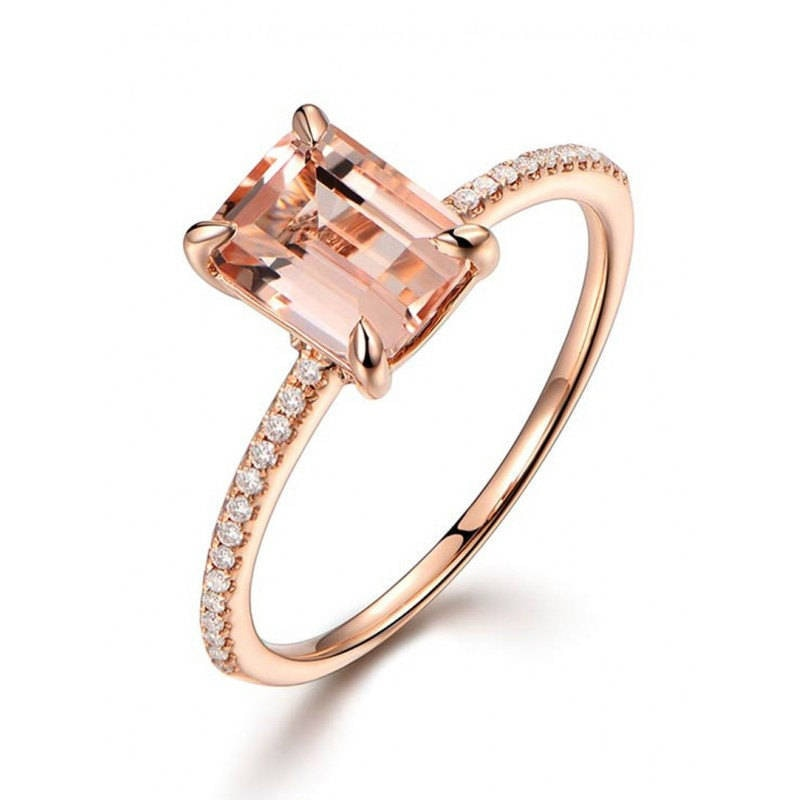 Female Square Ring Set Luxury 18Kt Rose Gold Filled Ring Vintage Wedding Band Promise Engagement Rings For Women - Sheseelady
