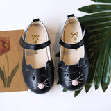 Girls Leather Cartoon Cat Kids Sneakers For Female