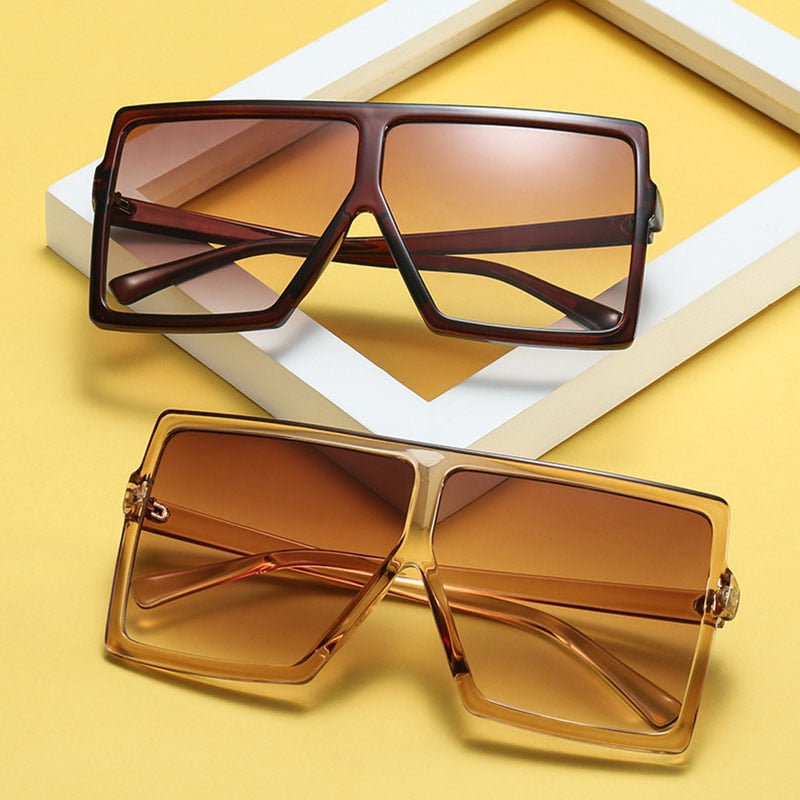 Big Frame Gradient Shades Oversized Sunglasses Square Brand Designer Vintage Women Fashion Sun Glasses Oculos De Sol Uv400 - Sheseelady