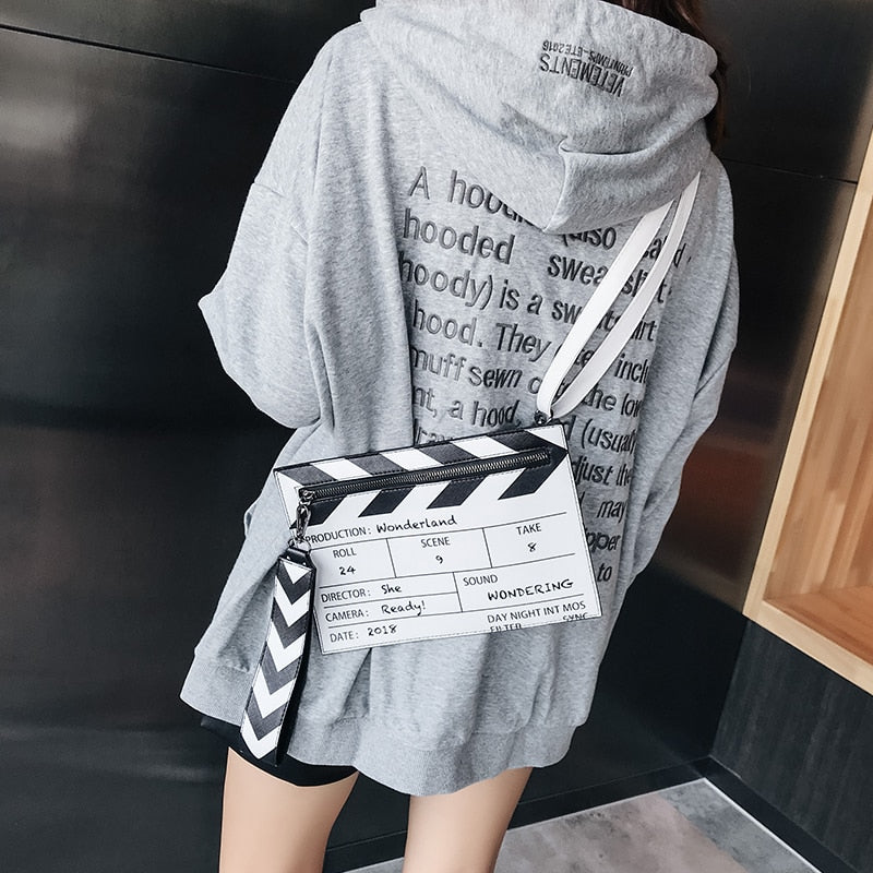 Pu Black & White Fashion Movie Design Printing Women'S Clutch Bag