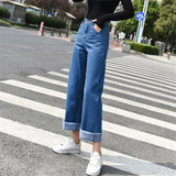 Elastic Tassel Denim Boot Cut Leg Straight Jeans - Sheseelady