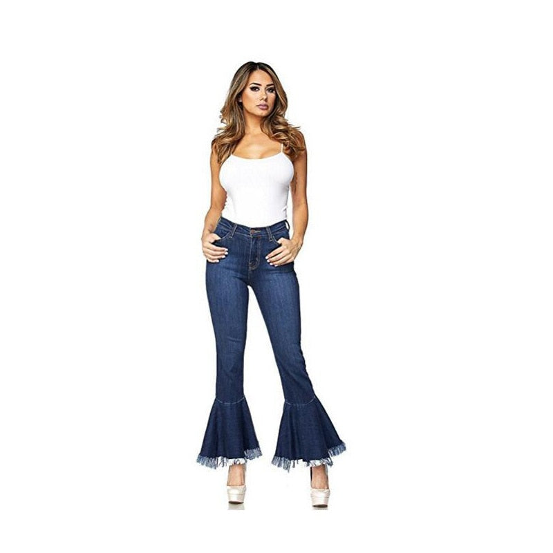 Nine-Point Tassel Broad Legs Trim Thin Jeans