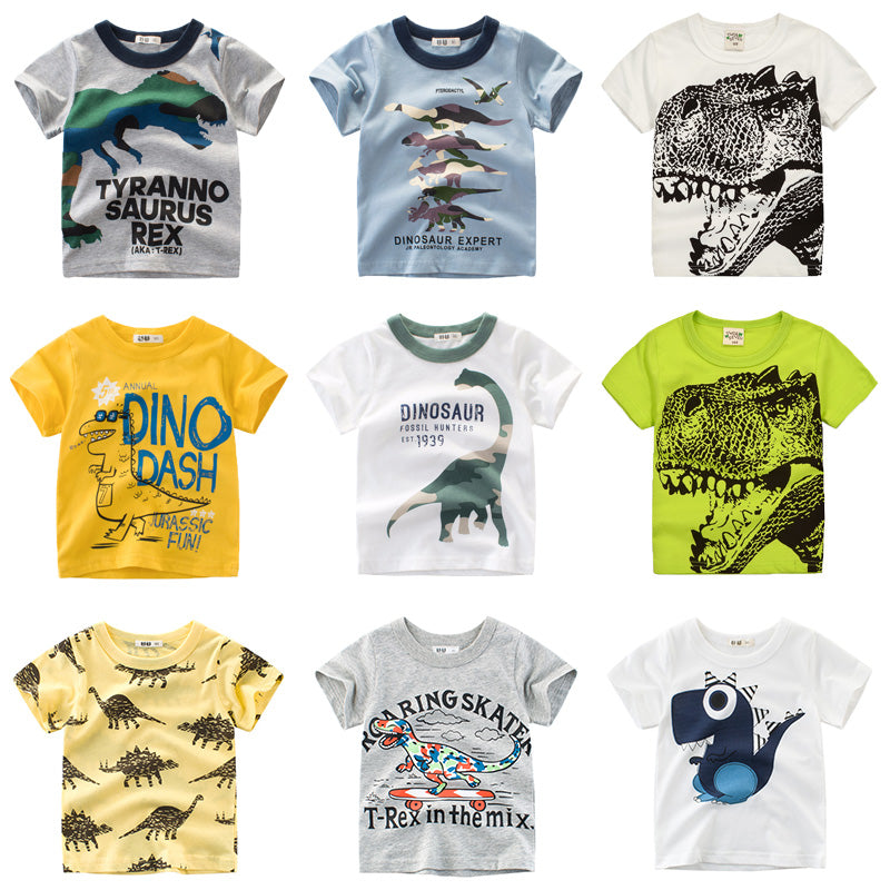 Boys & Girls Cartoon T-Shirts Kids Dinosaur Print T Shirt For Boys Children Summer Short Sleeve T-Shirt Cotton Tops Clothing - Sheseelady